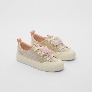 NWT Zara Size 4 big girl glitter sneakers